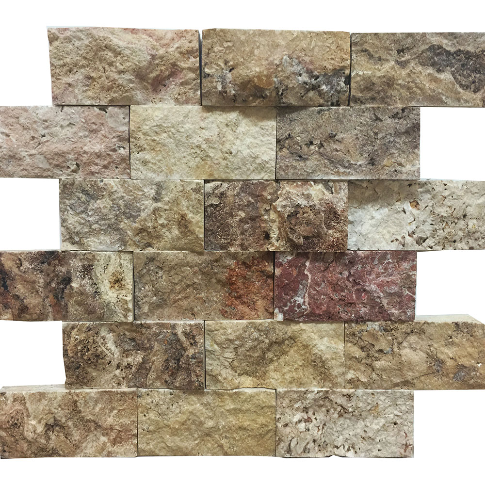 Atlantic Stone Source Mosaics Travertine Split Face 2 x 4 Antique Blend