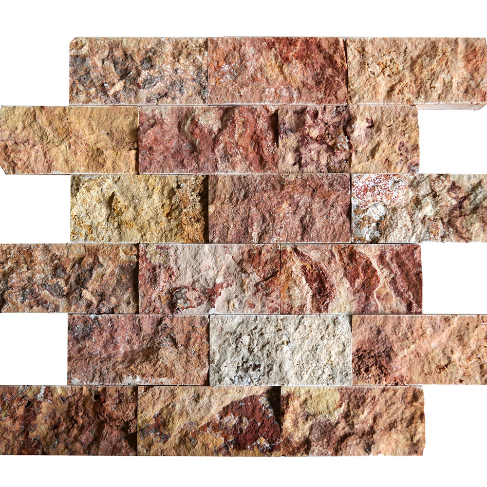 Atlantic Stone Source Mosaics Travertine Split Face 2 x 4 Scabas
