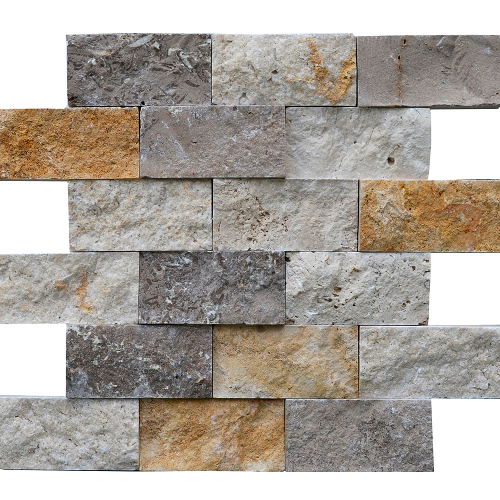 Atlantic Stone Source Mosaics Travertine Split Face 2 x 4 White Noce Gold Mixed