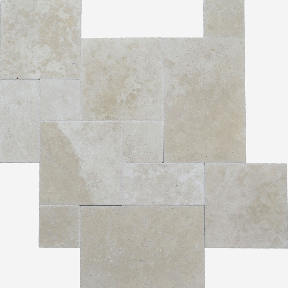 Atlantic Stone Source Travertine French Pattern Brushed and Chiseled Ivory