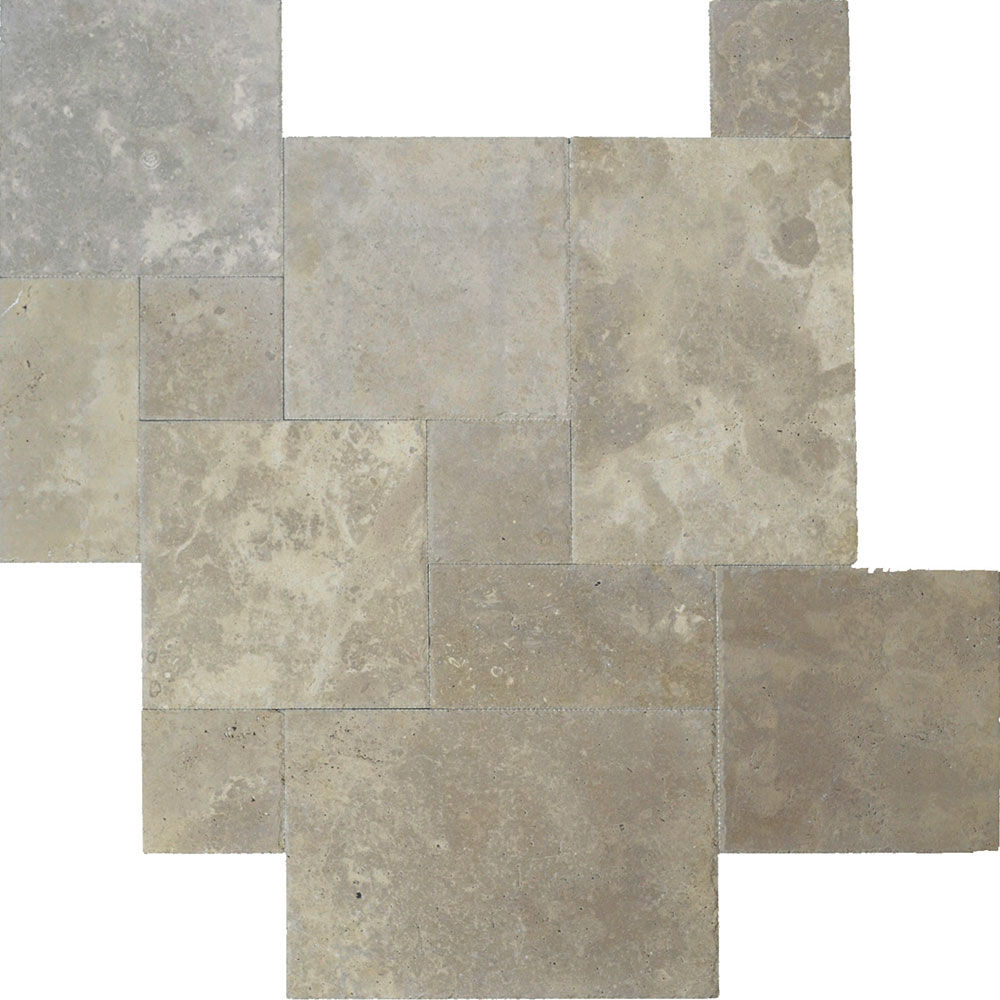Atlantic Stone Source Travertine French Pattern Brushed and Chiseled Noce