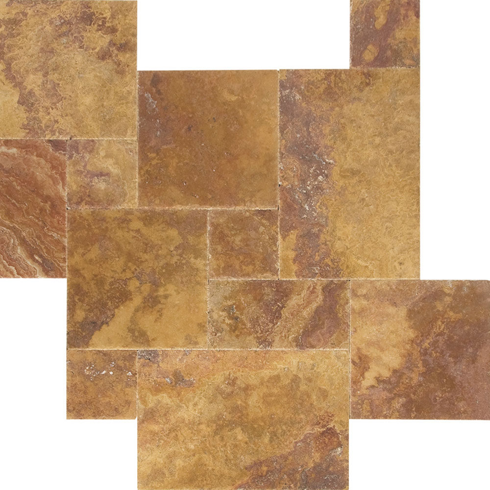 Atlantic Stone Source Travertine French Pattern Brushed and Chiseled Peach Blend