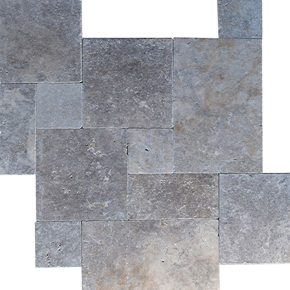 Atlantic Stone Source Travertine French Pattern Tumbled Silver