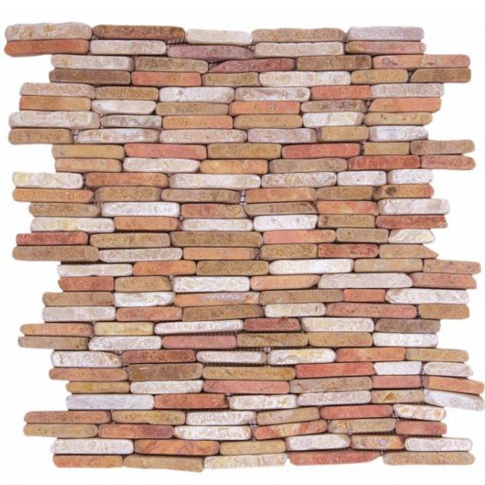 Bati Orient Marble Stacked Brick White Red