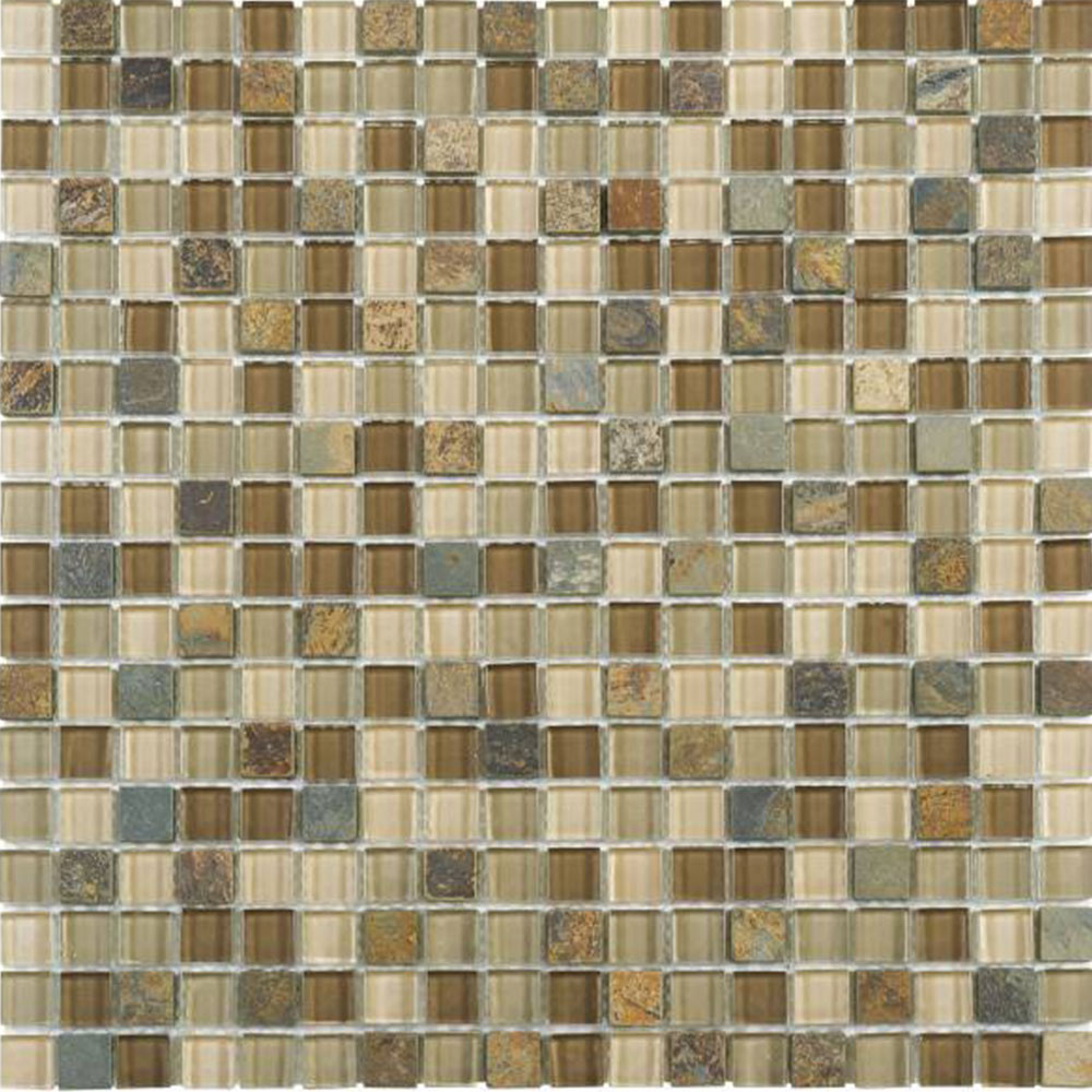 Bati Orient Mix Mosaic 5/8 x 5/8 Beige Brown Slate Glass