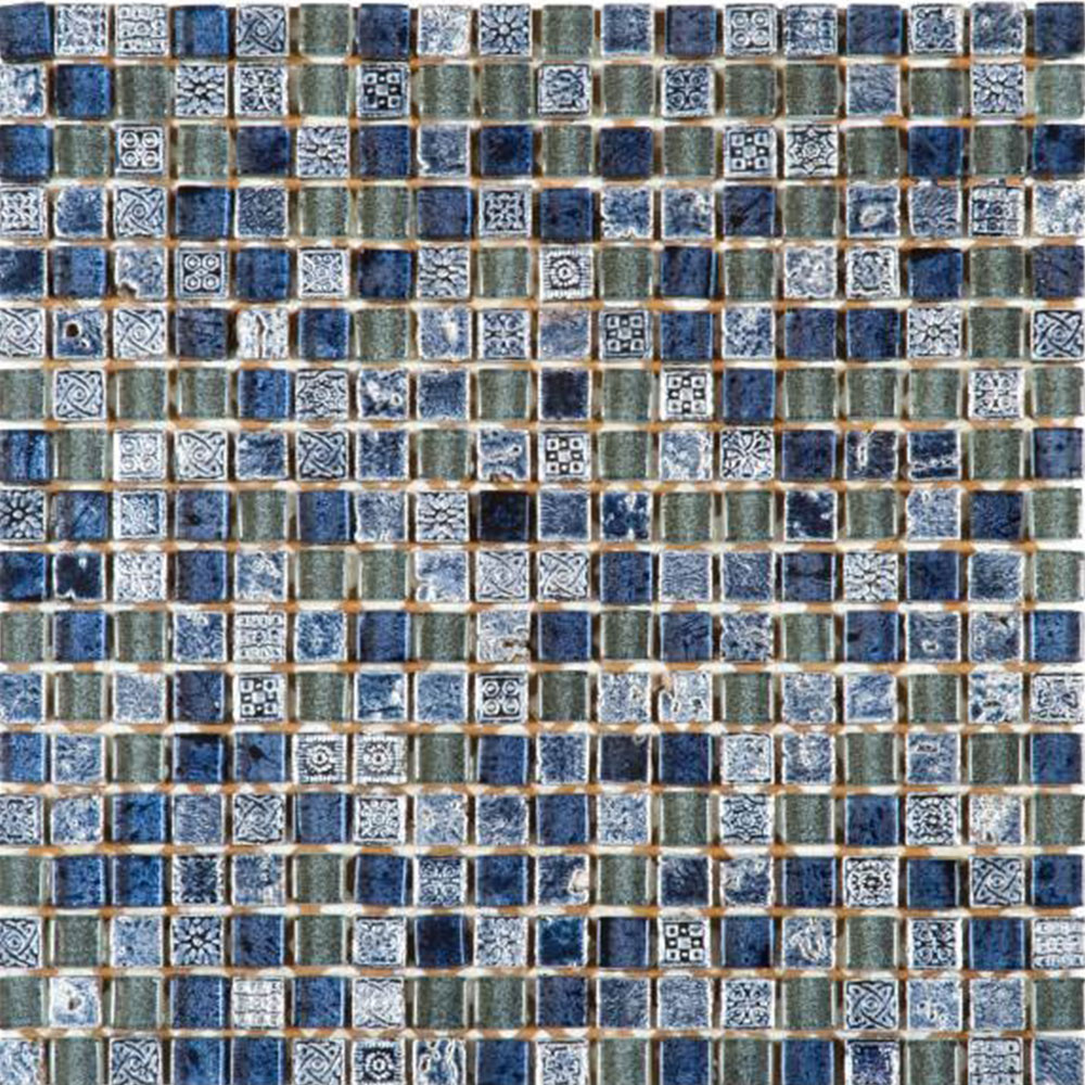 Bati Orient Mix Mosaic 5/8 x 5/8 Blue Glass Decor