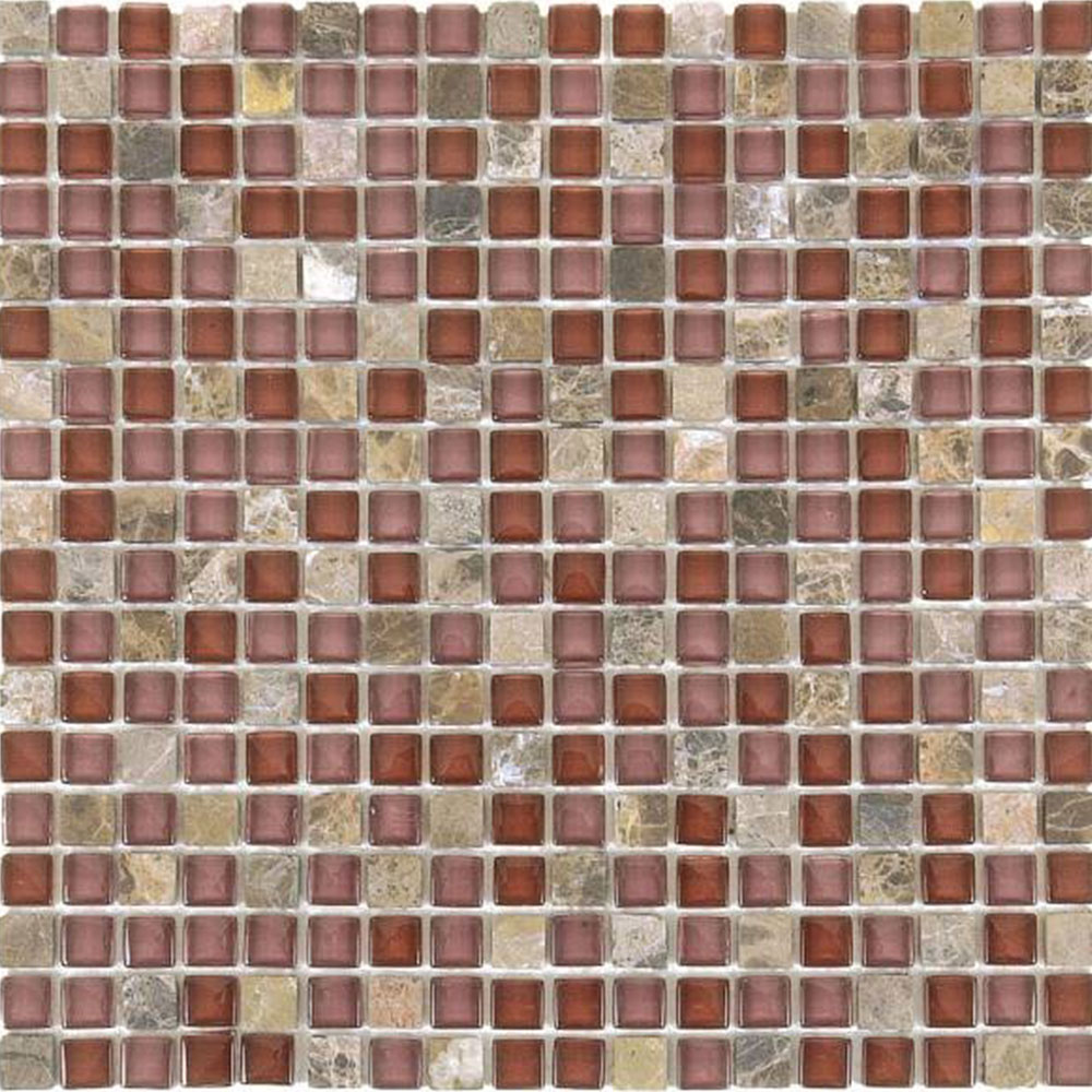 Bati Orient Mix Mosaic 5/8 x 5/8 Brown Marble Brown Glossy Glass