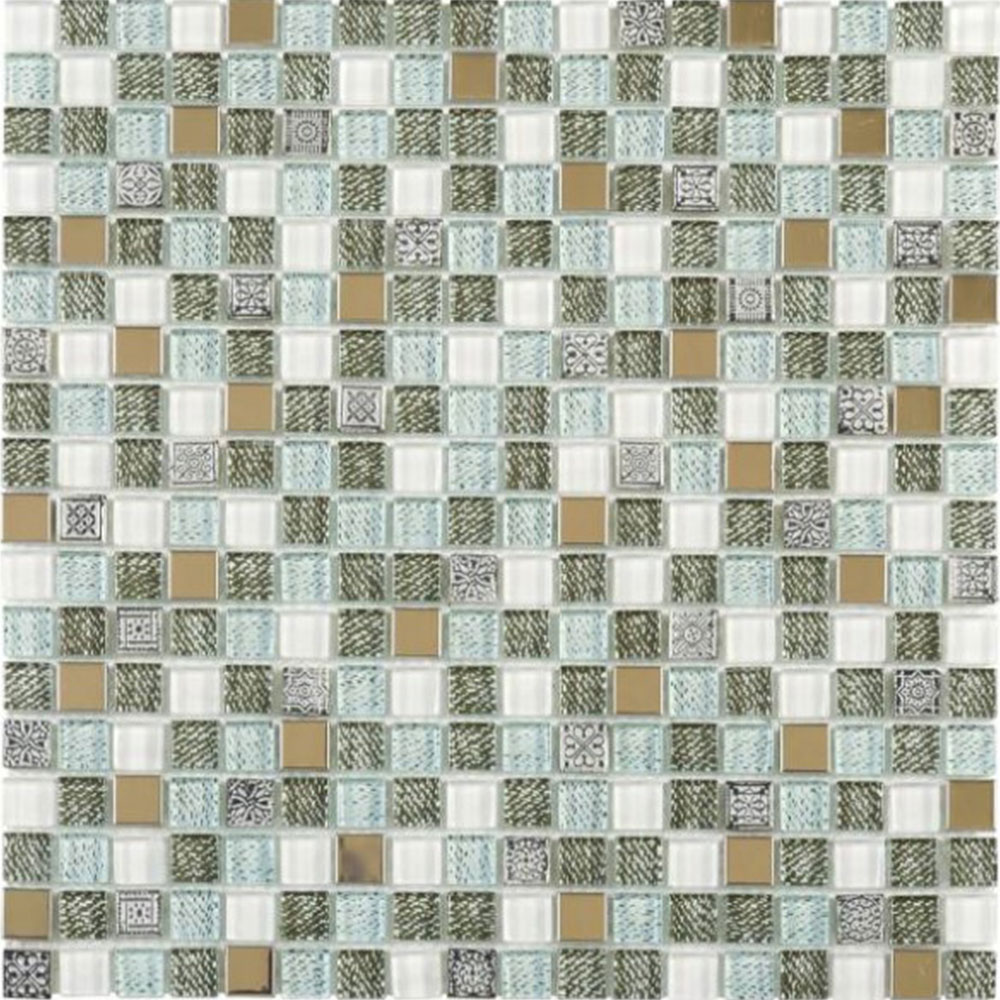Bati Orient Mix Mosaic 5/8 x 5/8 Mix Grey Glass Green Jean Print Steel