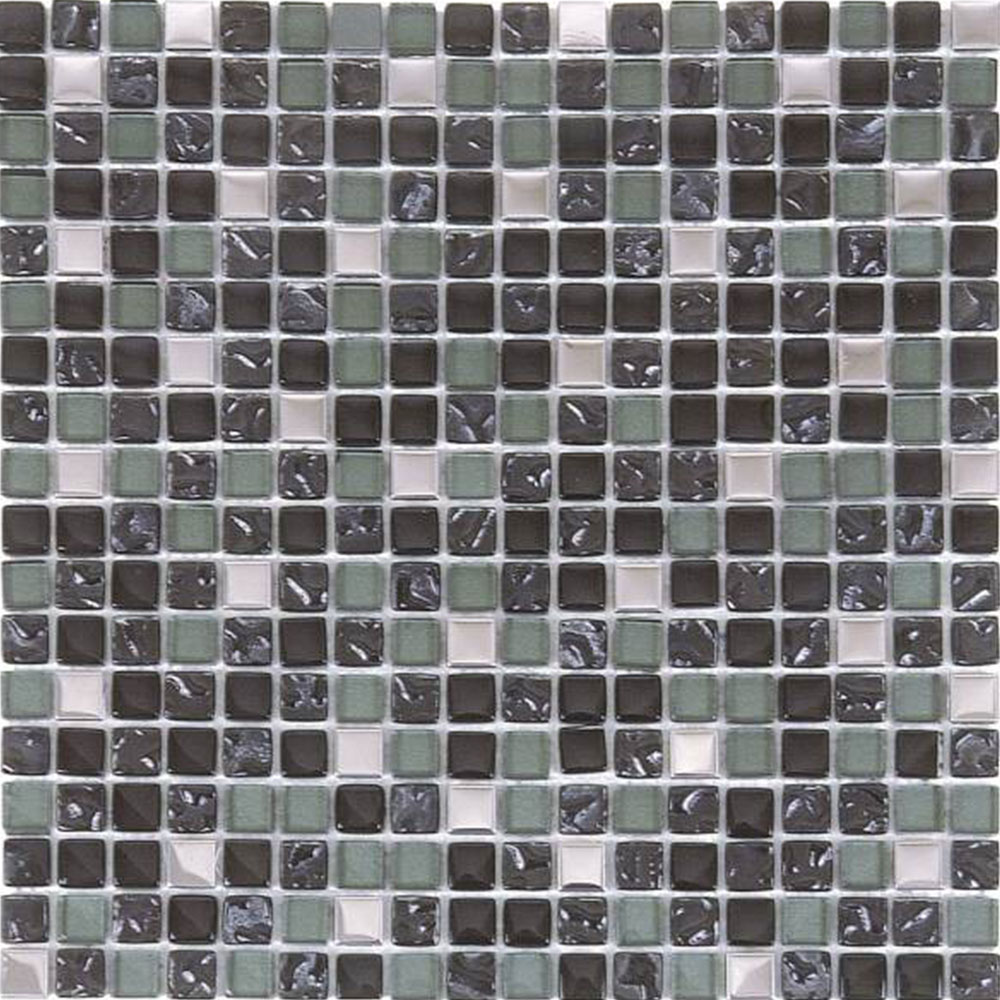 Bati Orient Mix Mosaic 5/8 x 5/8 Mix Steel Dark Grey Glossy Glass