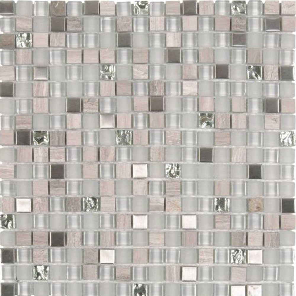 Bati Orient Mix Mosaic 5/8 x 5/8 Mix Steel Grey Glass