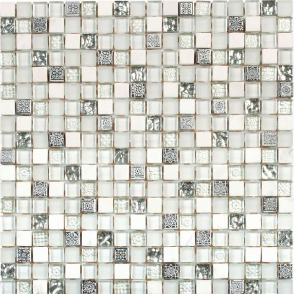 Bati Orient Mix Mosaic 5/8 x 5/8 White Grey Glass