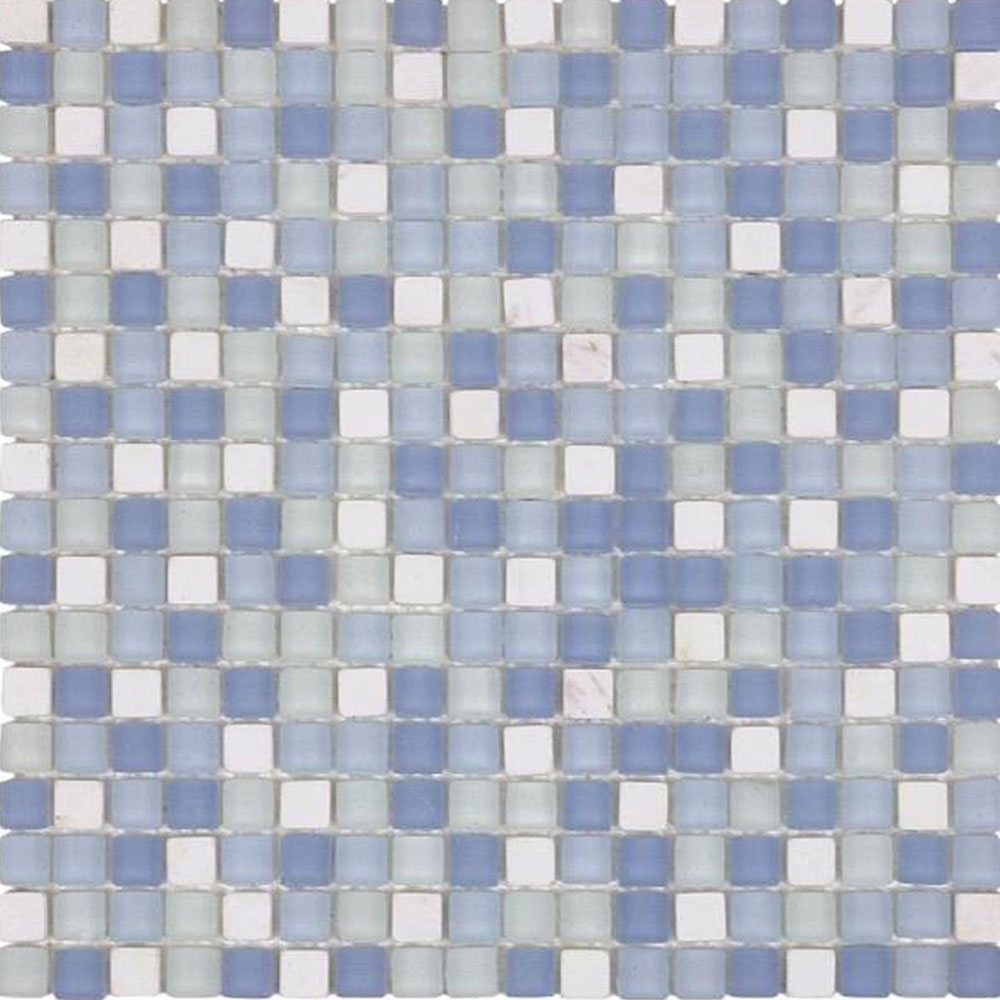 Bati Orient Mix Mosaic 5/8 x 5/8 White Marble Blue Matte Glass