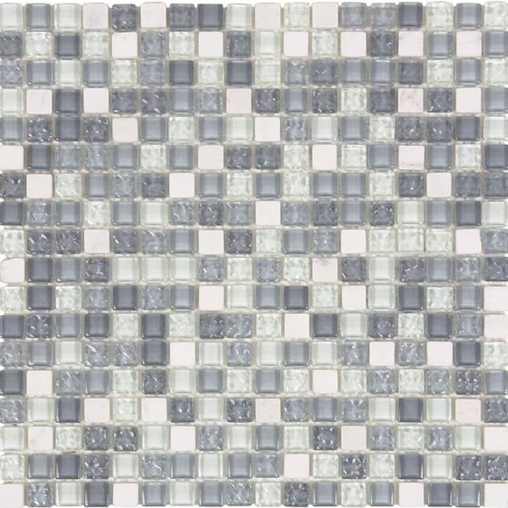 Bati Orient Mix Mosaic 5/8 x 5/8 White Marble Light Grey Glossy Glass