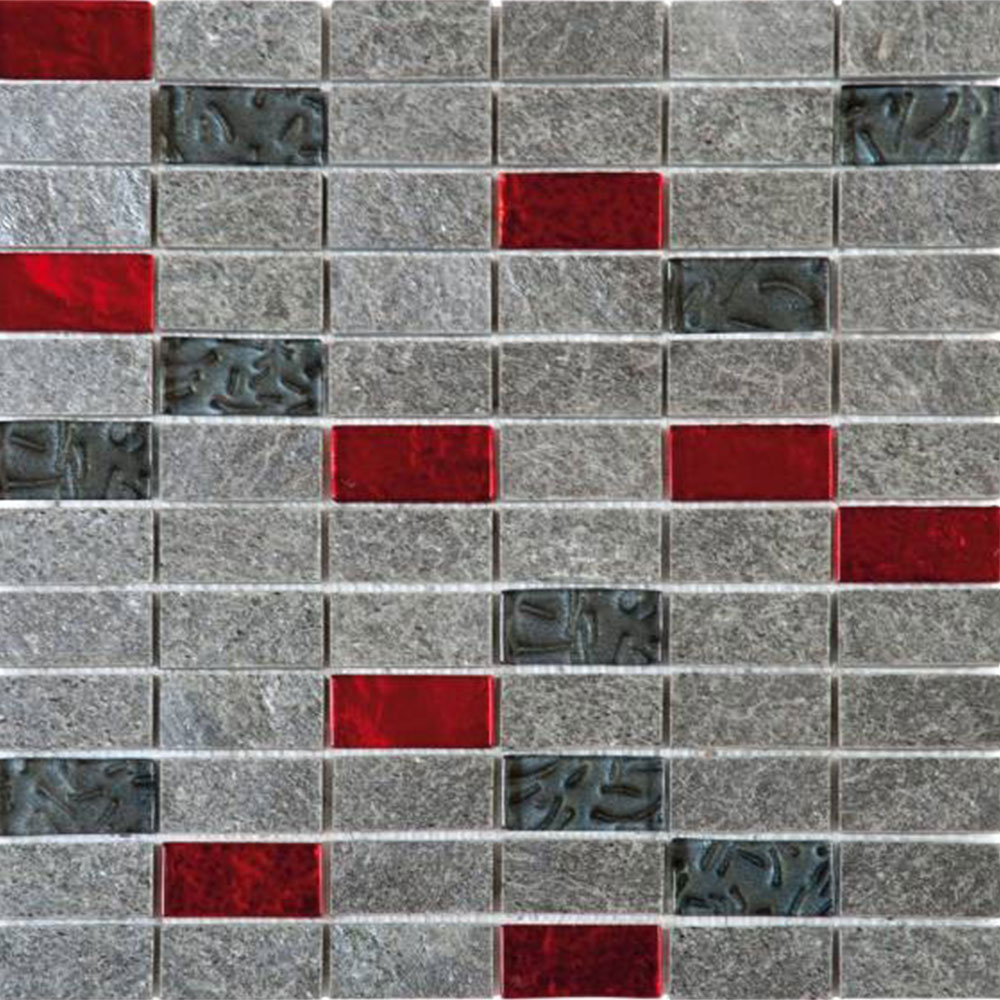 Bati Orient Mix Mosaic 1 x 2 Grey Natural Quartzite Red Glass