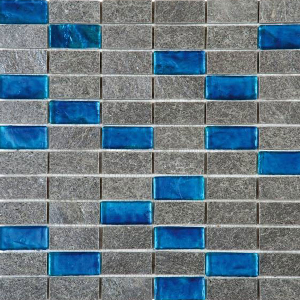 Bati Orient Mix Mosaic 1 x 2 Grey Natural Quartzite Turquoise Glass