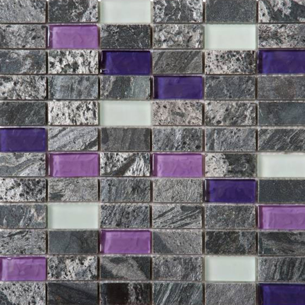 Bati Orient Mix Mosaic 1 x 2 Grey Polished Quartzite Purple White Glass