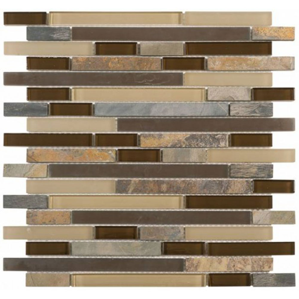 Bati Orient Mix Mosaic Baguette Beige Brown Slate Glass