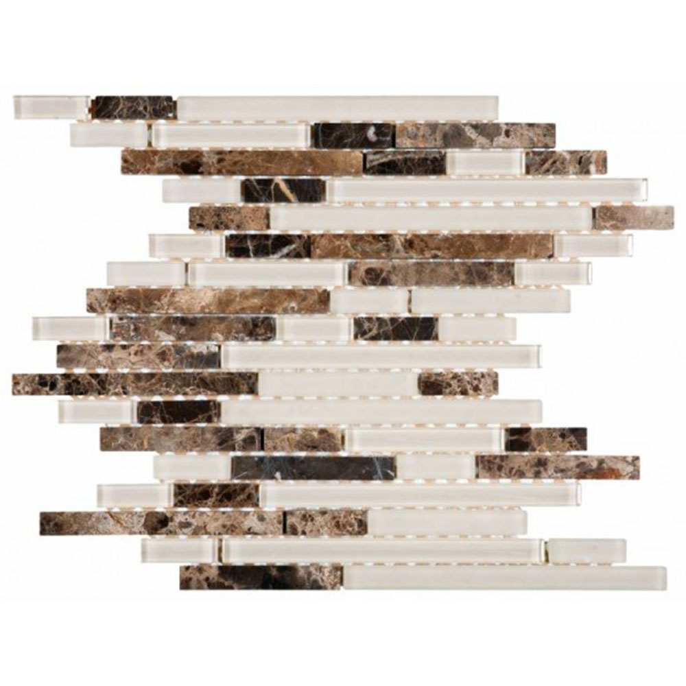 Bati Orient Mix Mosaic Baguette Brown Marble Beige Glass
