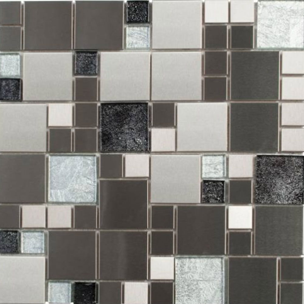 Bati Orient Mix Mosaic Cube Sliver Brushed Steel Mix Grey Glass