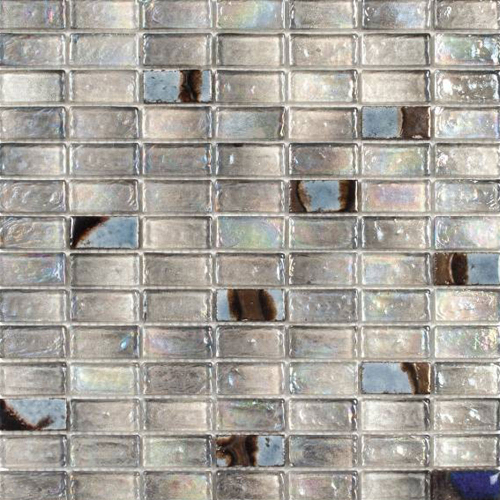 Bati Orient Mix Mosaic Brick 3/4 x 1 3/4 Grey Glass Ceramic Brick