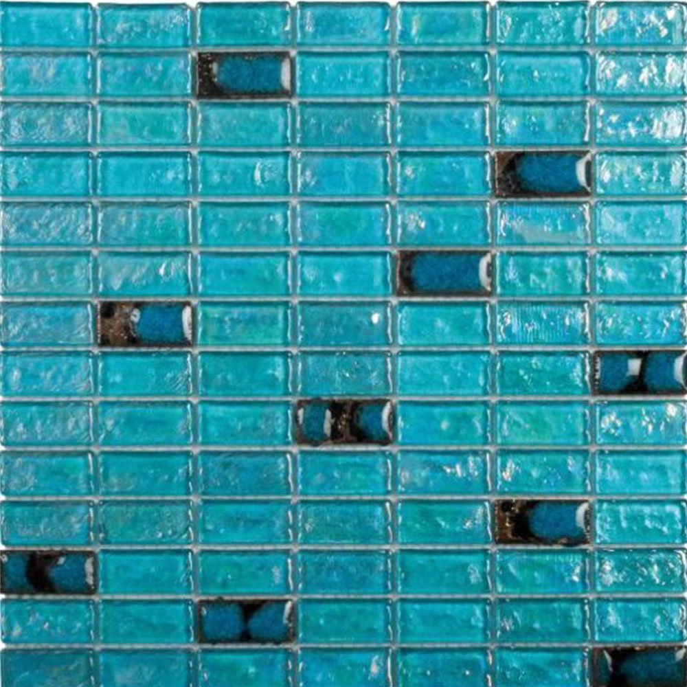 Bati Orient Mix Mosaic Brick 3/4 x 1 3/4 Turquoise Glass Ceramic Brick