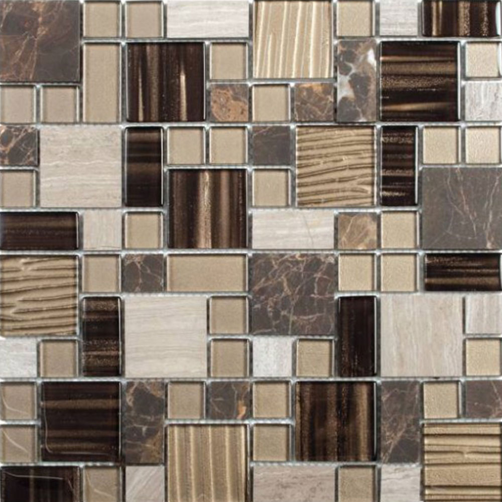 Bati Orient Mix Mosaic Mixed Size Beige Brown Marble Glass