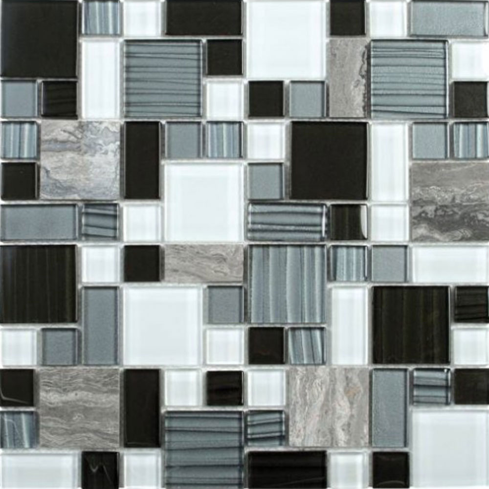 Bati Orient Mix Mosaic Mixed Size Grey Marble Black Grey White Glass