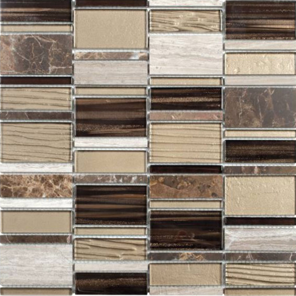 Bati Orient Mix Mosaic Rectangle Beige Brown Mixed Marble Glass
