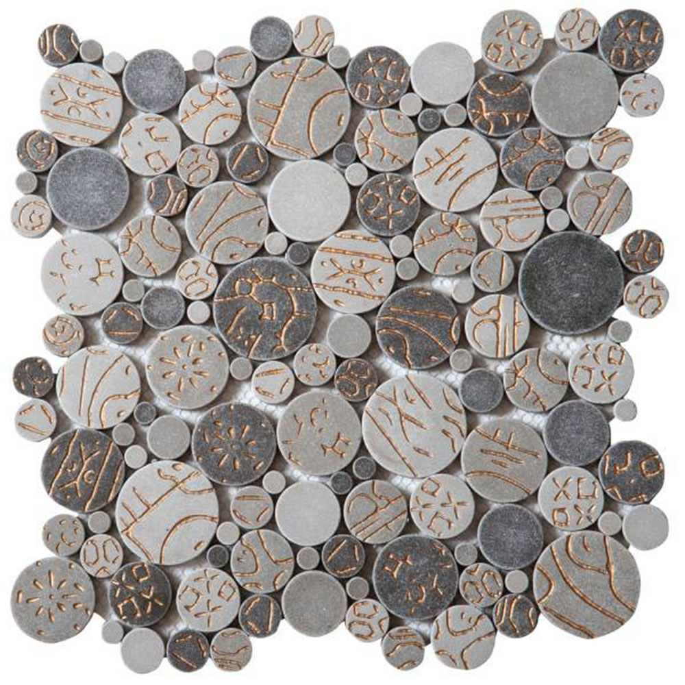 Bati Orient Round Mosaic Penny Rounds Taupe Gold
