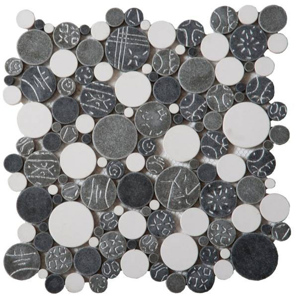 Bati Orient Round Mosaic Penny Rounds White Grey Silver