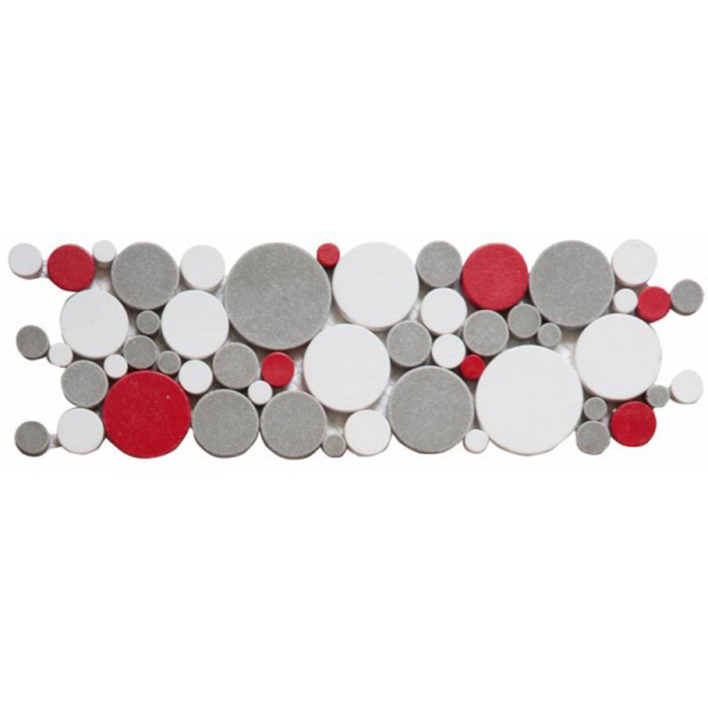 Bati Orient Round Mosaic Reconstituted Border White Grey Red