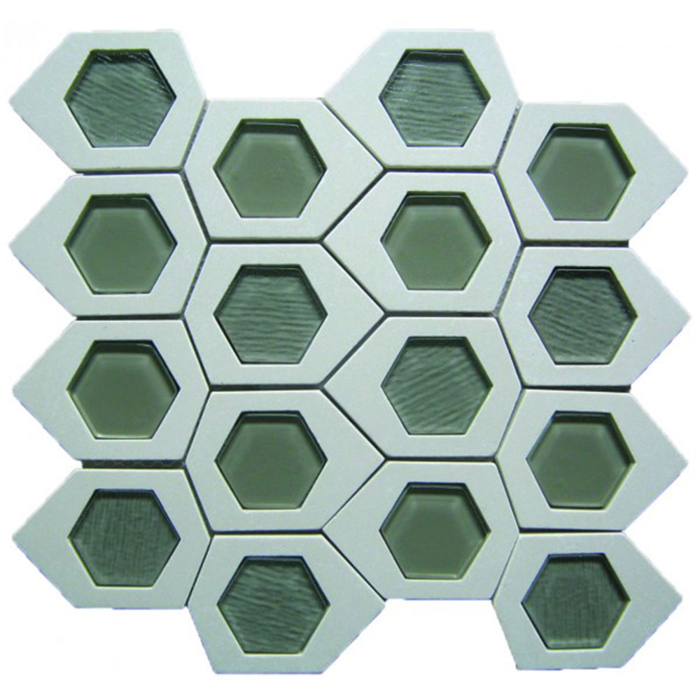 Bati Orient Stone Hexagon Irregular White Stone Grey Glass Mix