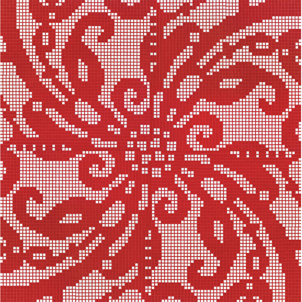 Bisazza Mosaico Decori Opus Romano - Embroidery Red Embroidery Red