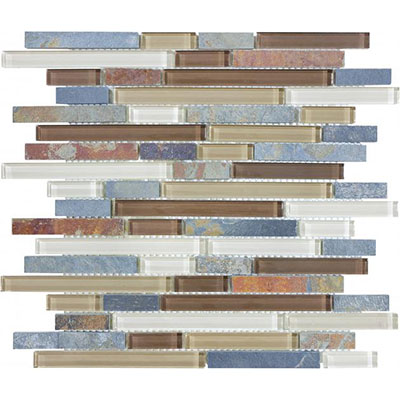 Chesapeake Flooring Slate Glass Mosaic Linear Blend Amber Tea