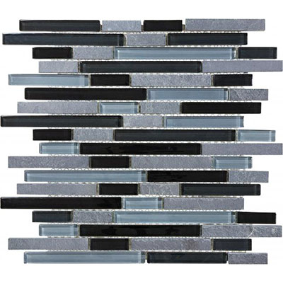 Chesapeake Flooring Slate Glass Mosaic Linear Blend Black Timber