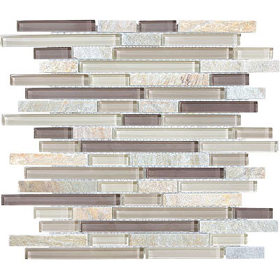 Chesapeake Flooring Slate Glass Mosaic Linear Blend Cotton Wood