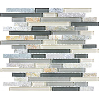 Chesapeake Flooring Slate Glass Mosaic Linear Blend Silver Aspen