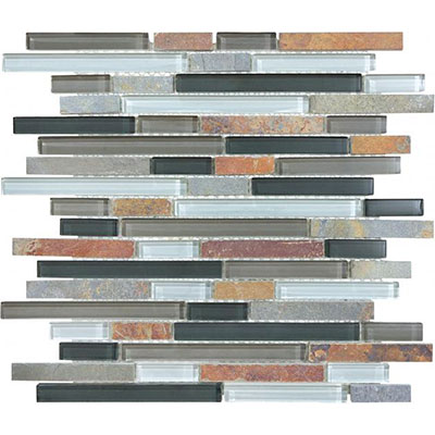 Chesapeake Flooring Slate Glass Mosaic Linear Blend Smoky Mica