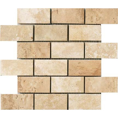 Crossville Modern Mythology Siren Brick Mosaic White Travertine S00610204BR