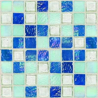 Daltile Egyptian Glass Mosaics 1 x 1 Blends Blue Pearl Mix EG34 11PM1P