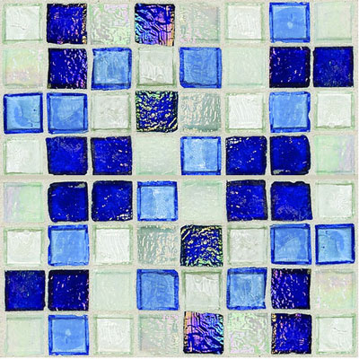 Daltile Egyptian Glass Mosaics 1 x 1 Blends Sapphire Collage EG32 11PM1P