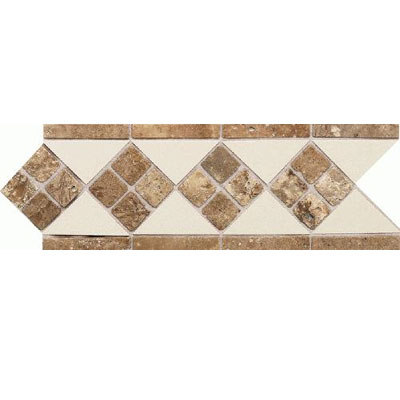 Daltile Fashion Accents Semi-Gloss w/Ocean Glass & Tumbled Stone Almond Noce FA52412LIST1P2