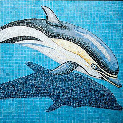 Daltile Glass Mosaic Murals Dolphin with Shadow 31 x 49 707041