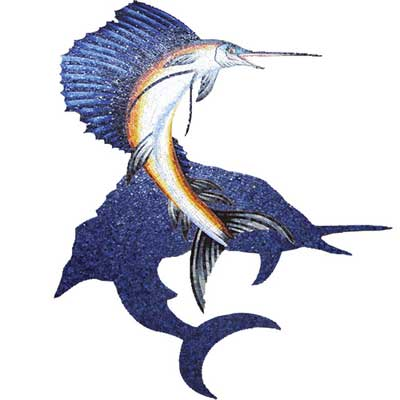 Daltile Glass Mosaic Murals Sailfish with Shadow 89 x 110 707216