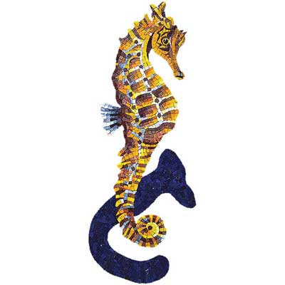Daltile Glass Mosaic Murals Seahorse with Shadow 13 x 32 707084