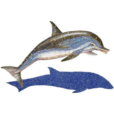 Daltile Glass Mosaic Murals Spotted Dolphin With Shadow 31 x49 707072