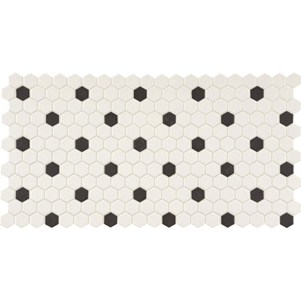 Daltile Keystones Blends Hexagon White with Black Dots 1 x 1 White with Black Dots