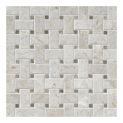 Daltile Limestone Mosaics Unique Shapes Arctic Gray Basketweave L757 BSKTWVMS1L