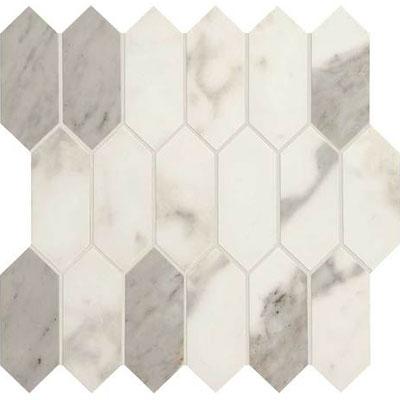 Daltile Marble Attache Linear Hex Mosaic Calacatta