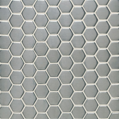 Daltile Metallica - Metal Tile Hexagon Mosaic Brushed Stainless Steel SS50 11HEXMS1P